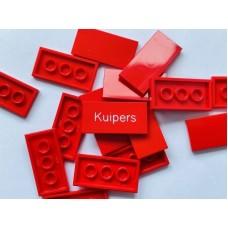 Legotegel 2x4 Rood - Graveren en tekst ingekleurd